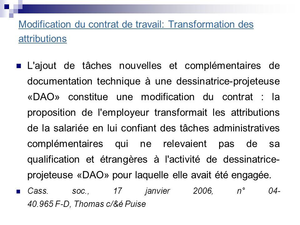 Modification du contrat de travail: Transformation des attributions