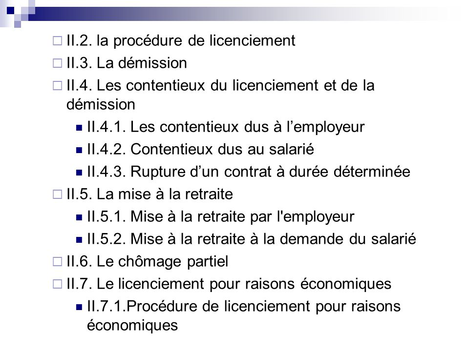 II.2. la procédure de licenciement