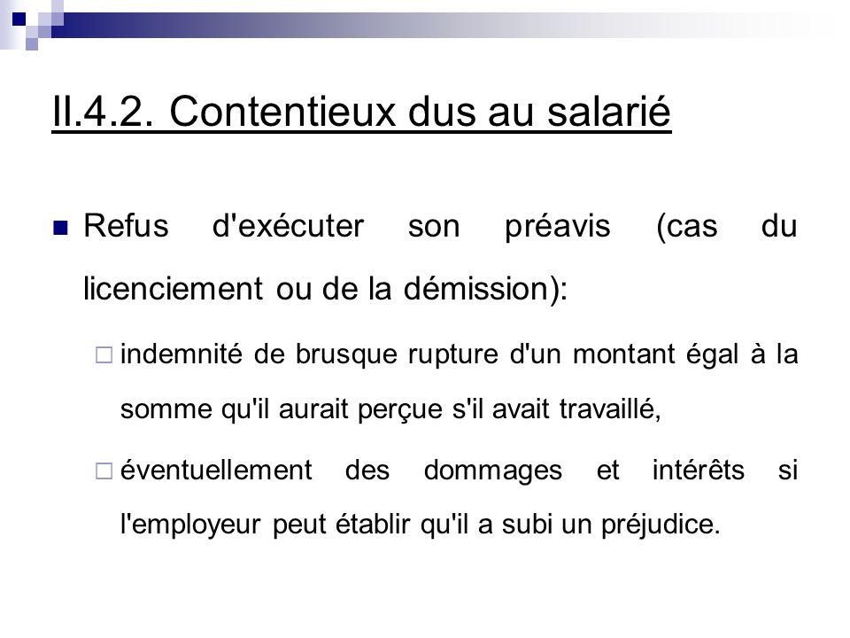 II.4.2. Contentieux dus au salarié