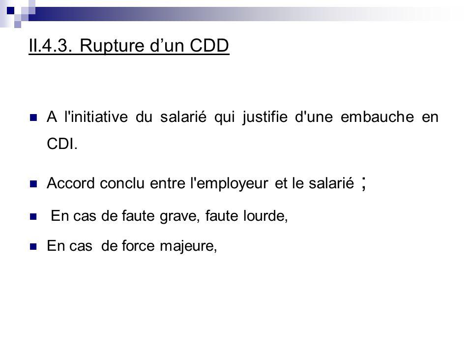 II.4.3. Rupture d'un CDD A l initiative du salarié qui justifie d une embauche en CDI. Accord conclu entre l employeur et le salarié ;