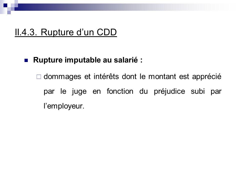 II.4.3. Rupture d'un CDD Rupture imputable au salarié :
