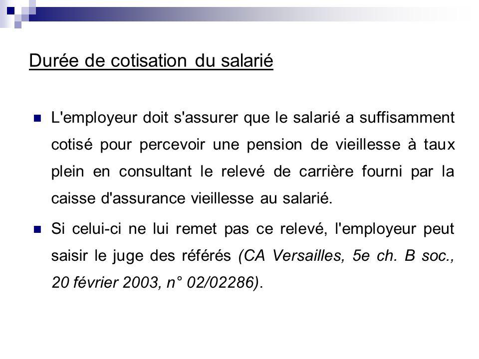 Durée de cotisation du salarié