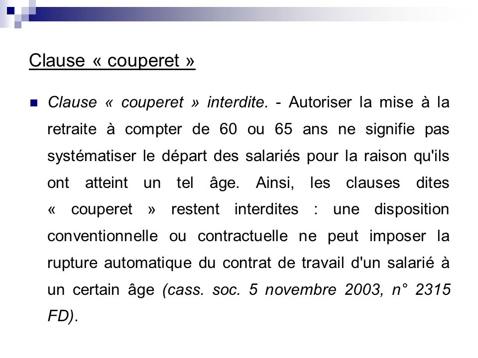 Clause « couperet »