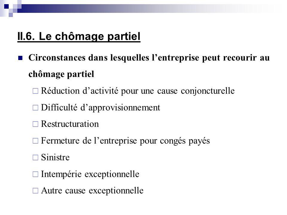 II.6. Le chômage partiel Circonstances dans lesquelles l'entreprise peut recourir au chômage partiel.