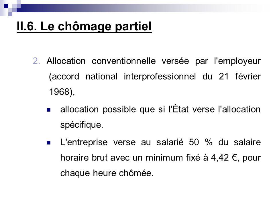 II.6. Le chômage partiel 2. Allocation conventionnelle versée par l employeur (accord national interprofessionnel du 21 février 1968),