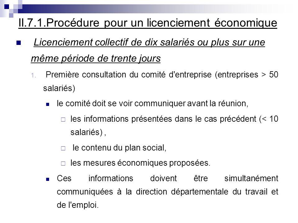 II.7.1.Procédure pour un licenciement économique