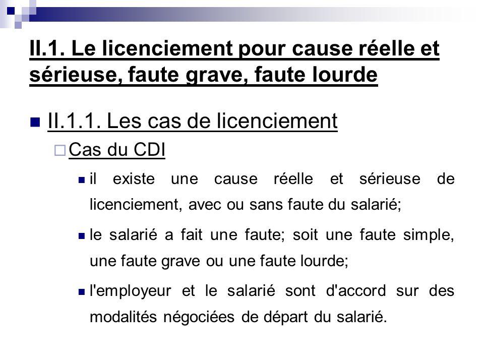 II.1.1. Les cas de licenciement