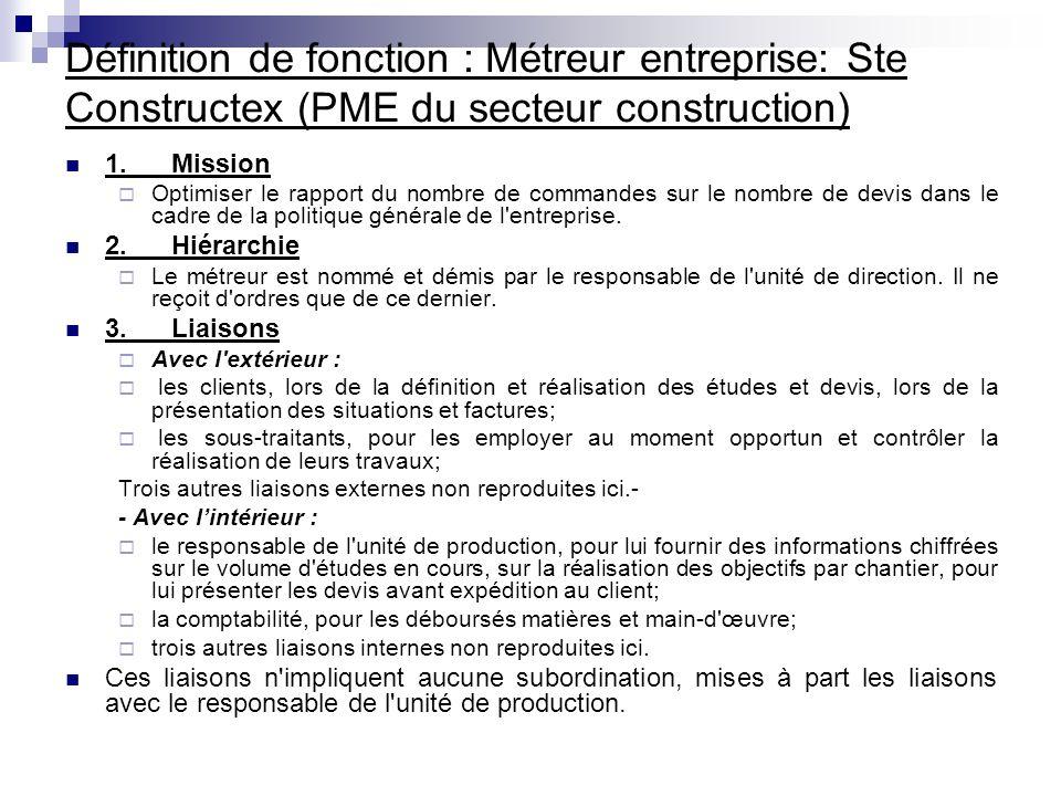 Définition de fonction : Métreur entreprise: Ste Constructex (PME du secteur construction)