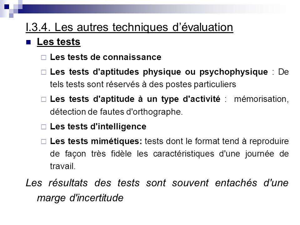 I.3.4. Les autres techniques d'évaluation
