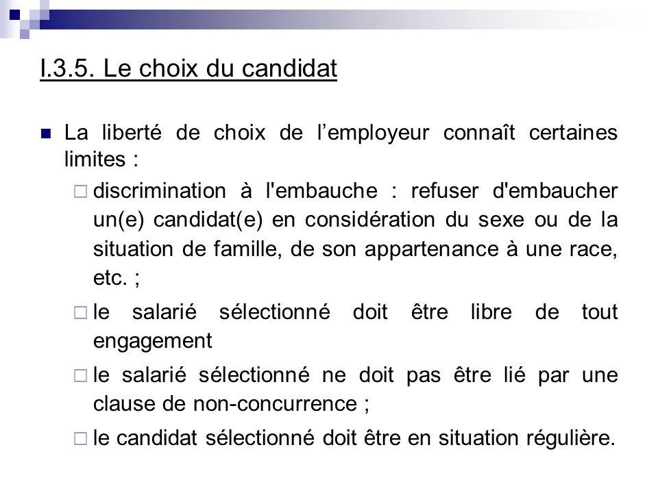 I.3.5. Le choix du candidat La liberté de choix de l'employeur connaît certaines limites :