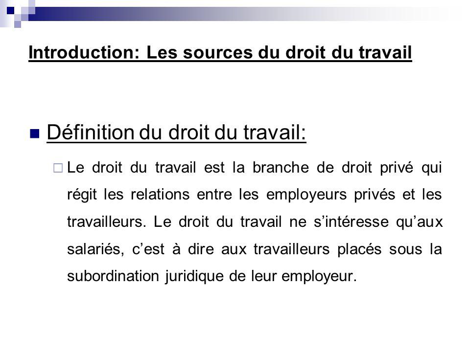 Introduction: Les sources du droit du travail
