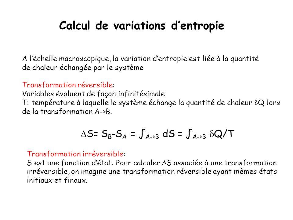 Calcul de variations d'entropie