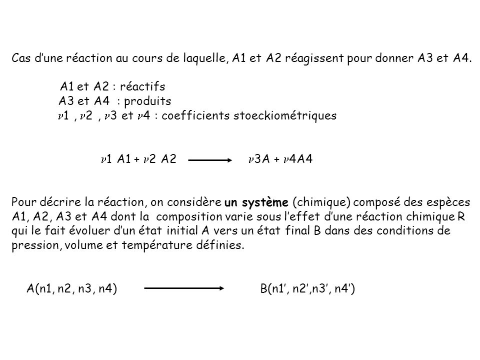 Cas d'une réaction au cours de laquelle, A1 et A2 réagissent pour donner A3 et A4.