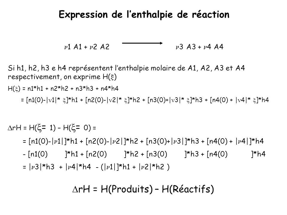Expression de l'enthalpie de réaction
