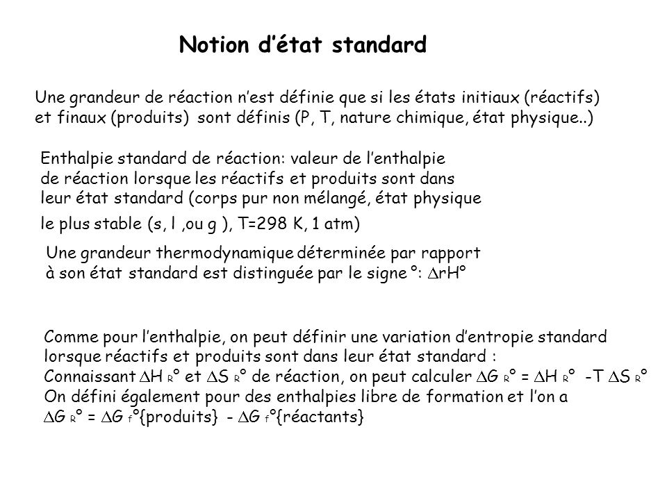 Notion d'état standard
