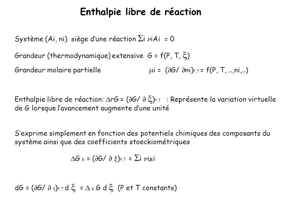 Enthalpie libre de réaction
