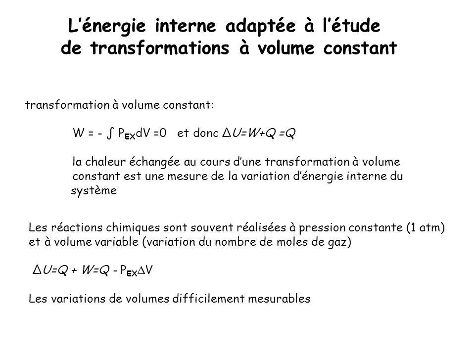 L'énergie interne adaptée à l'étude