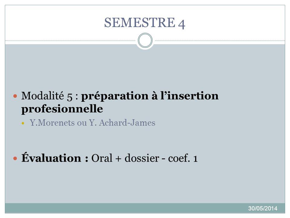 SEMESTRE 4 Modalité 5 : préparation à l'insertion profesionnelle