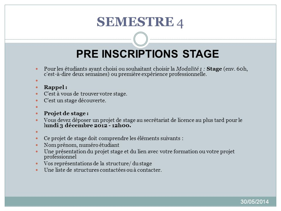PRE INSCRIPTIONS STAGE