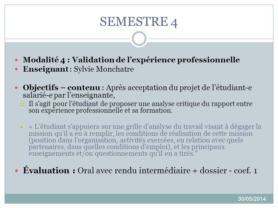 SEMESTRE 4 Modalité 4 : Validation de l'expérience professionnelle. Enseignant : Sylvie Monchatre.