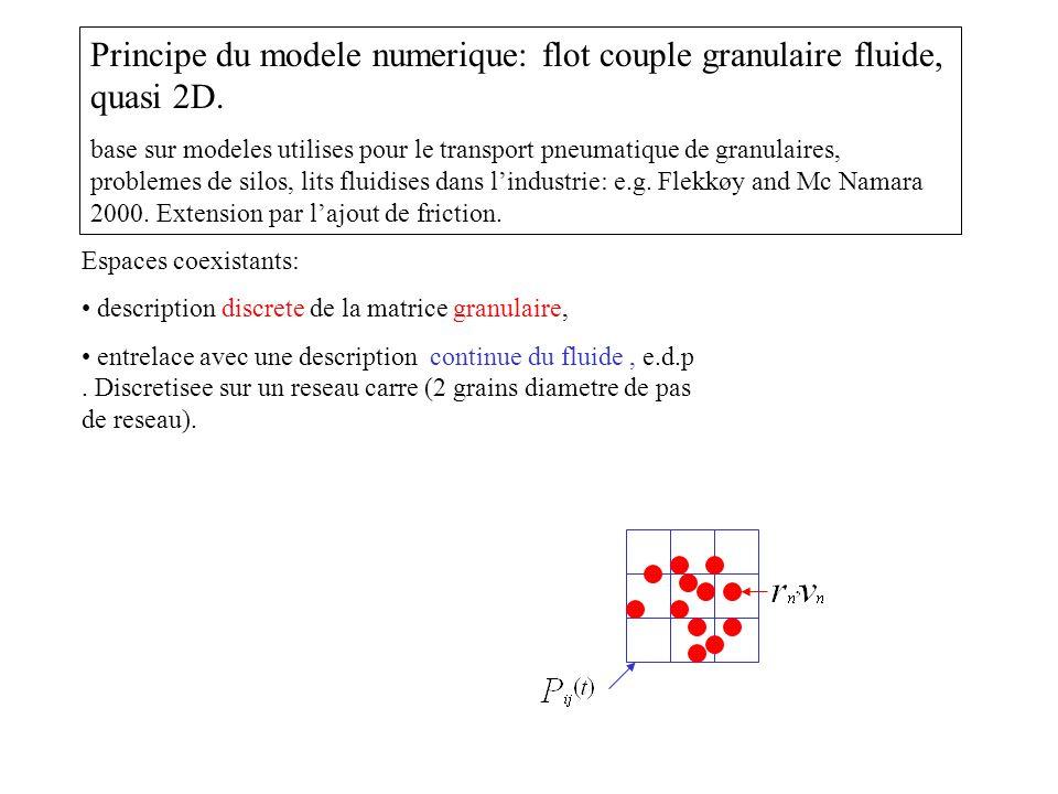 Principe du modele numerique: flot couple granulaire fluide, quasi 2D.