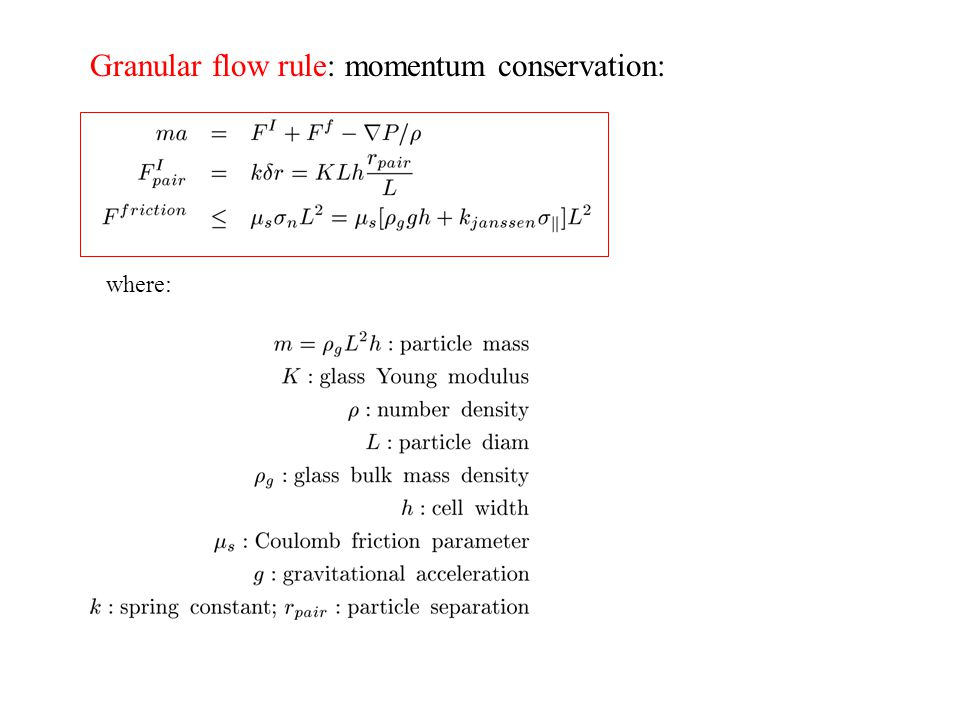 Granular flow rule: momentum conservation: