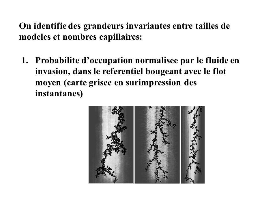 On identifie des grandeurs invariantes entre tailles de modeles et nombres capillaires: