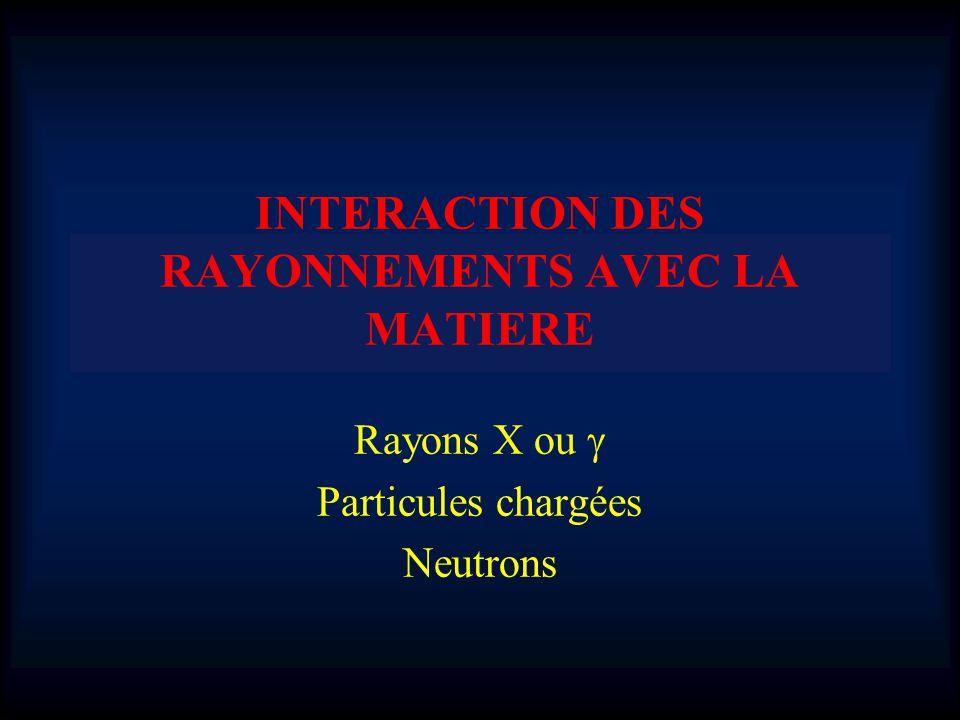 INTERACTION DES RAYONNEMENTS AVEC LA MATIERE
