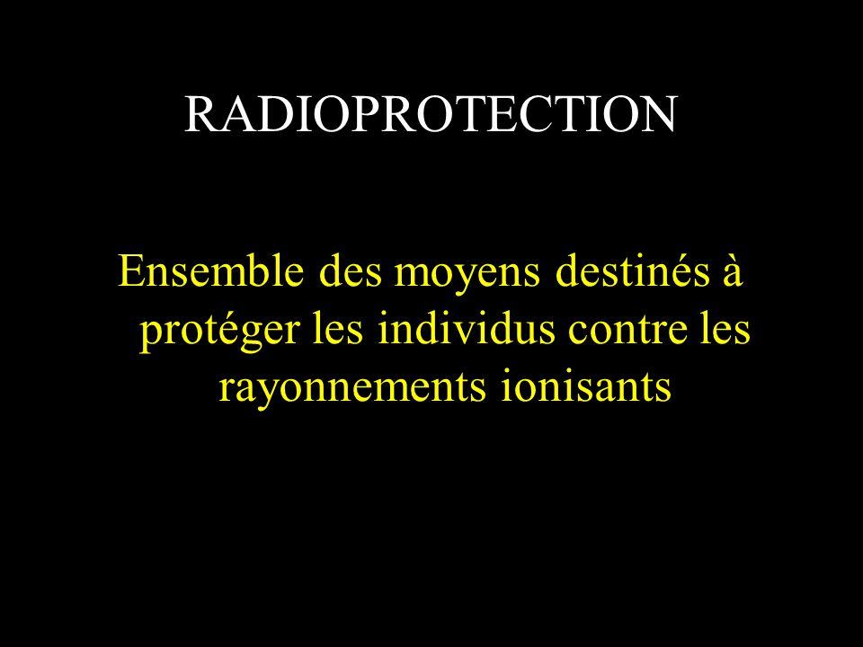RADIOPROTECTION Ensemble des moyens destinés à protéger les individus contre les rayonnements ionisants.