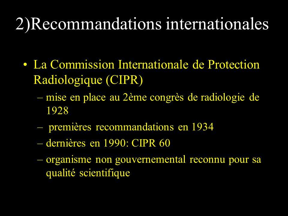 2)Recommandations internationales