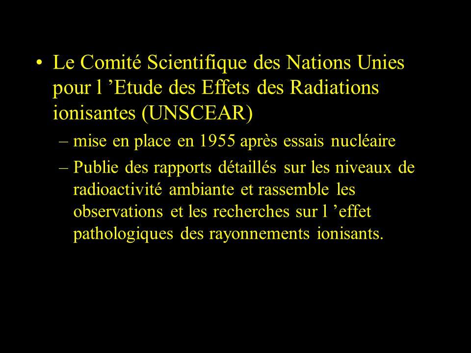 Le Comité Scientifique des Nations Unies pour l 'Etude des Effets des Radiations ionisantes (UNSCEAR)