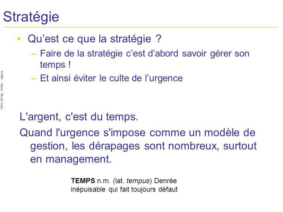 Stratégie Qu'est ce que la stratégie L argent, c est du temps.