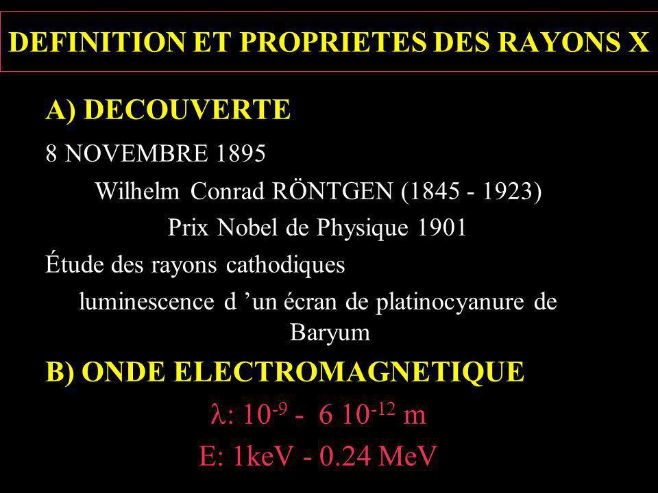 DEFINITION ET PROPRIETES DES RAYONS X