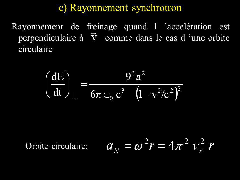 c) Rayonnement synchrotron