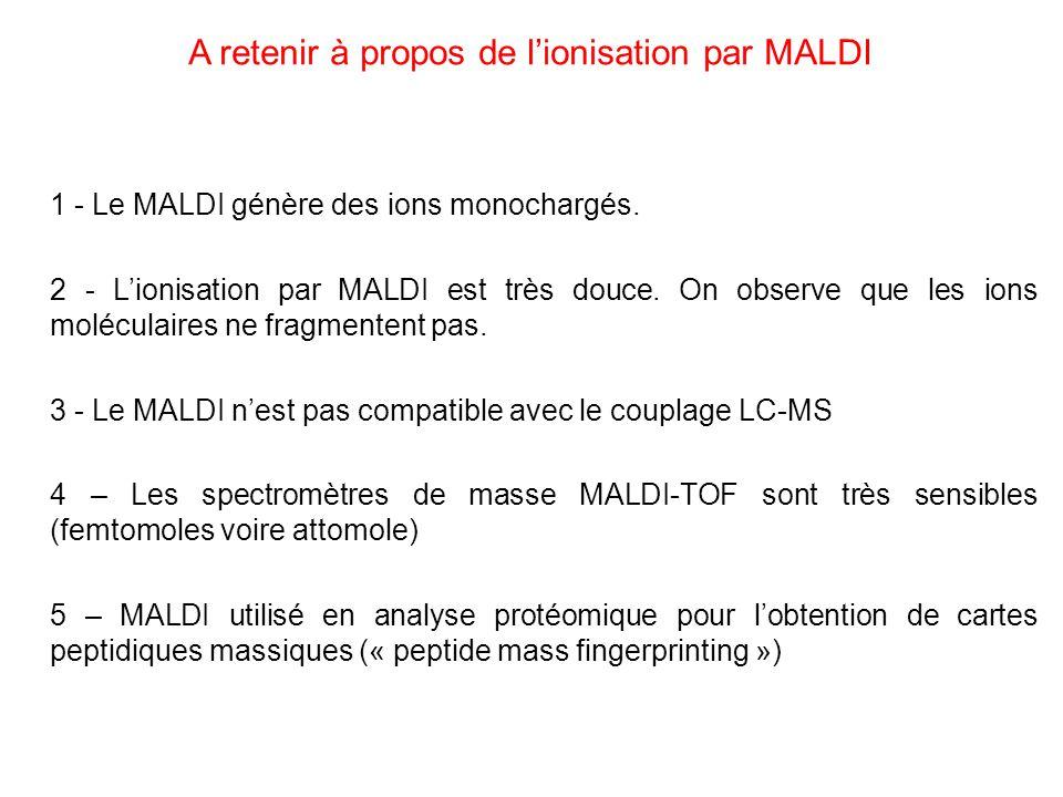 A retenir à propos de l'ionisation par MALDI