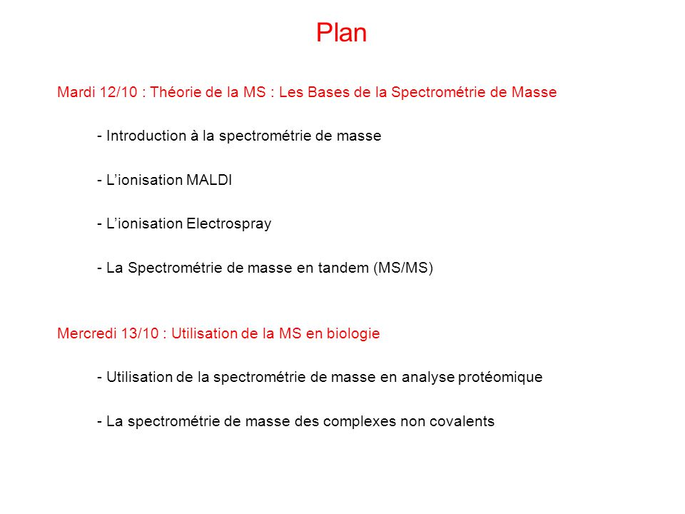 Plan Mardi 12/10 : Théorie de la MS : Les Bases de la Spectrométrie de Masse. - Introduction à la spectrométrie de masse.