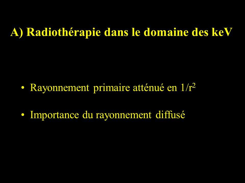 A) Radiothérapie dans le domaine des keV