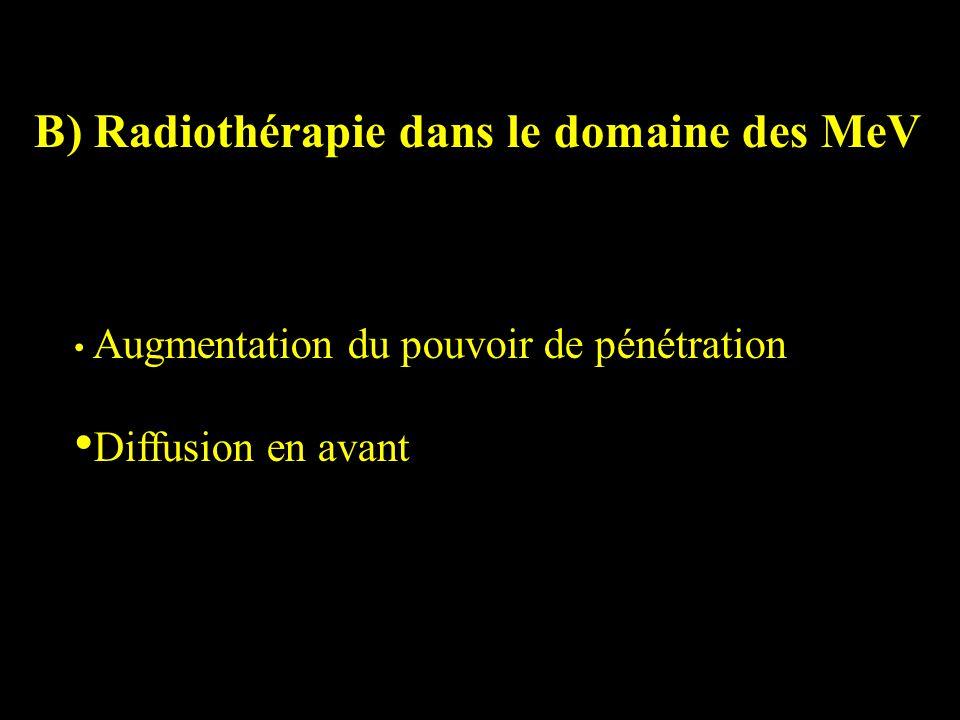 B) Radiothérapie dans le domaine des MeV