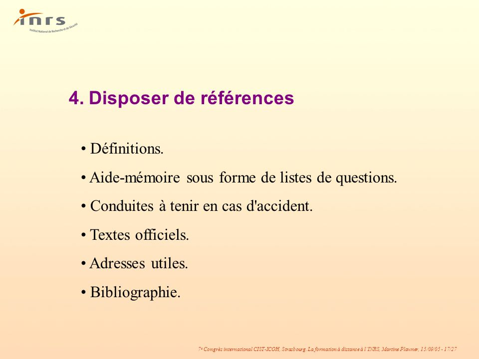 4. Disposer de références