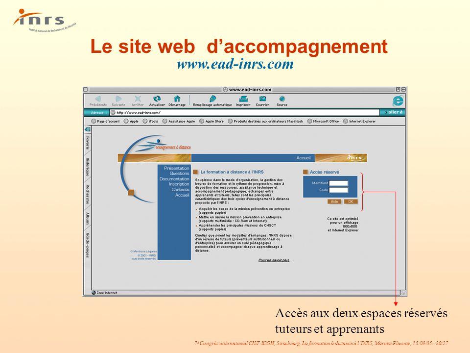 Le site web d'accompagnement