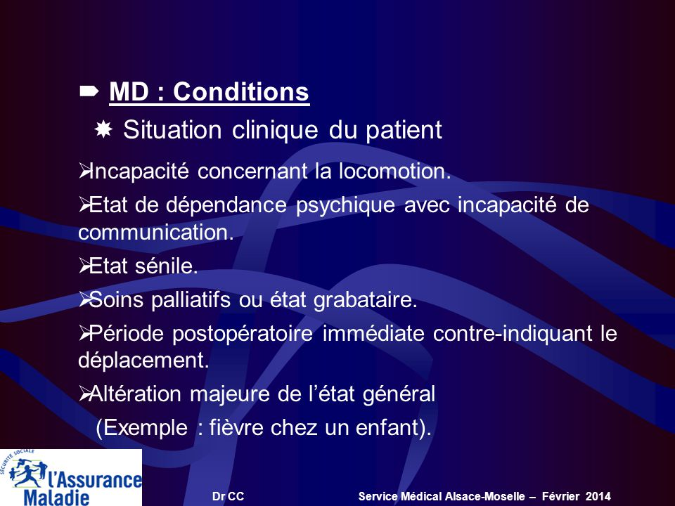  Situation clinique du patient