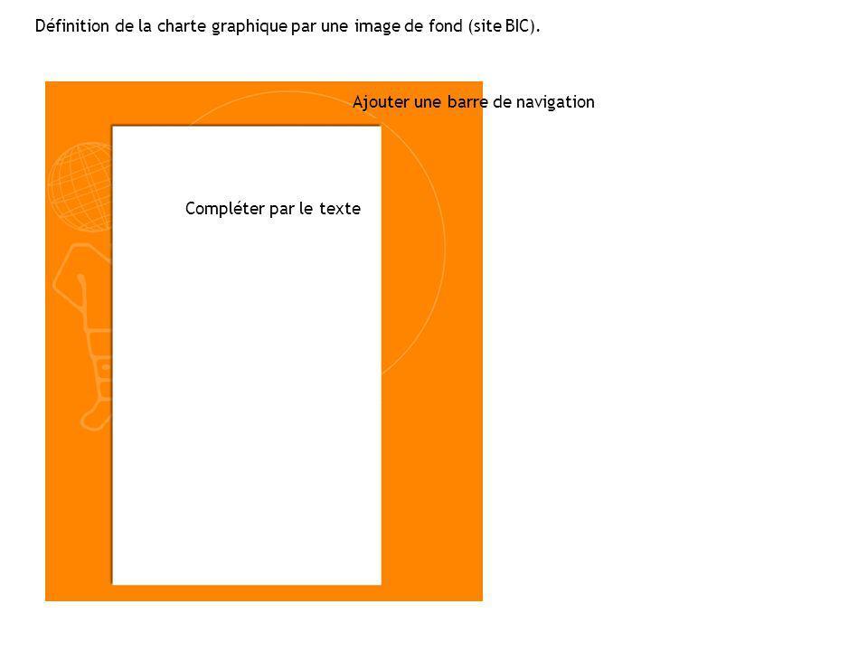 Définition de la charte graphique par une image de fond (site BIC).