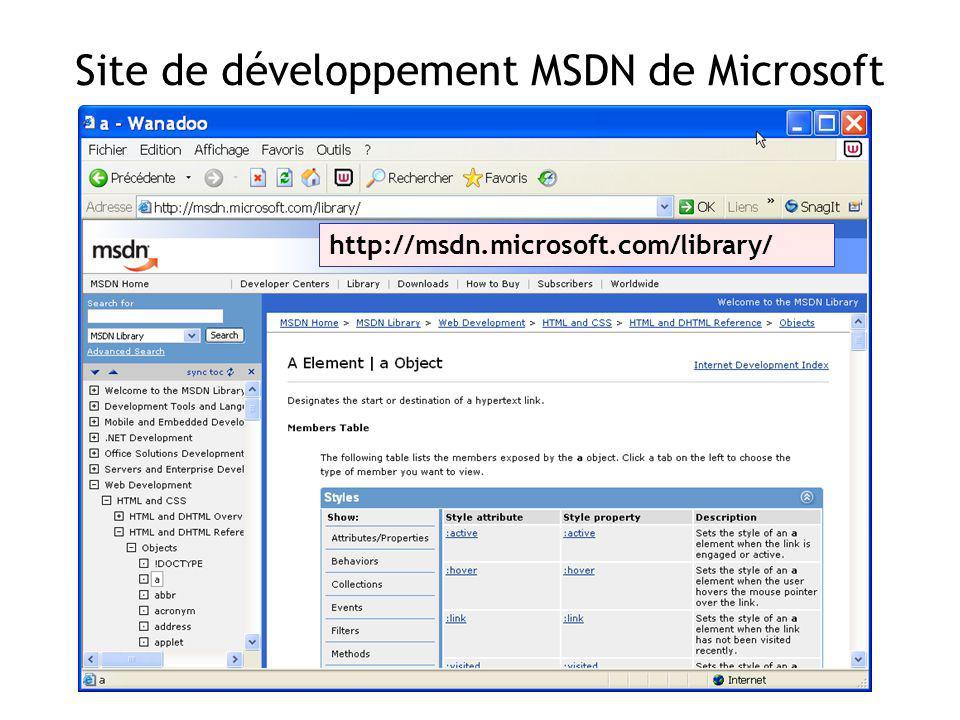 Site de développement MSDN de Microsoft