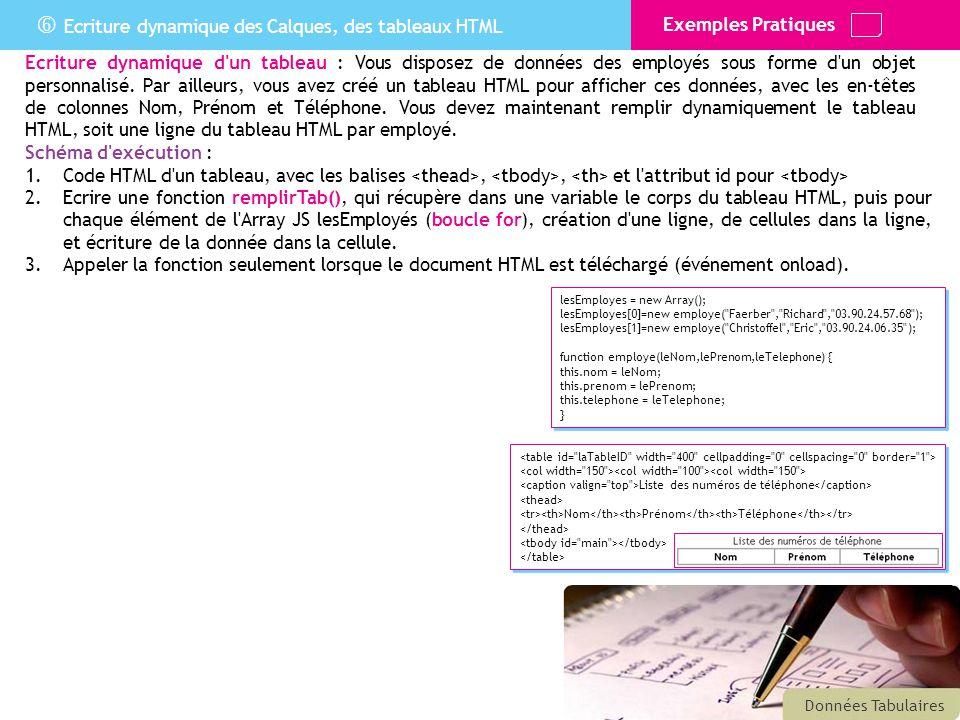  Ecriture dynamique des Calques, des tableaux HTML