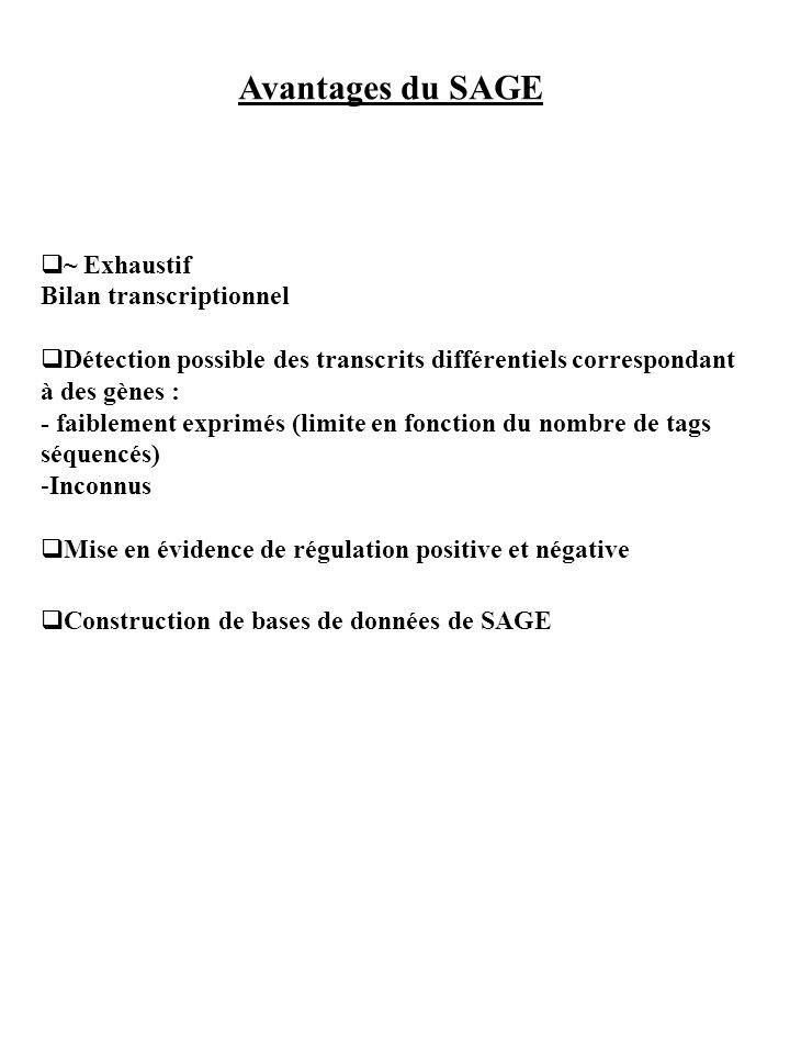 Avantages du SAGE ~ Exhaustif Bilan transcriptionnel