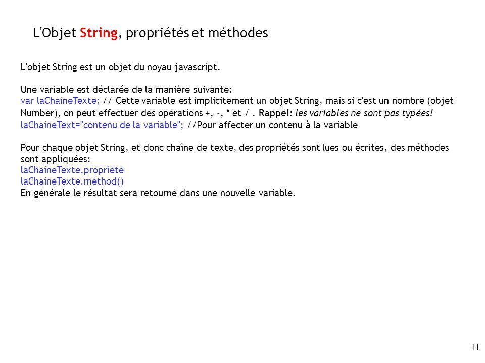 L Objet String, propriétés et méthodes
