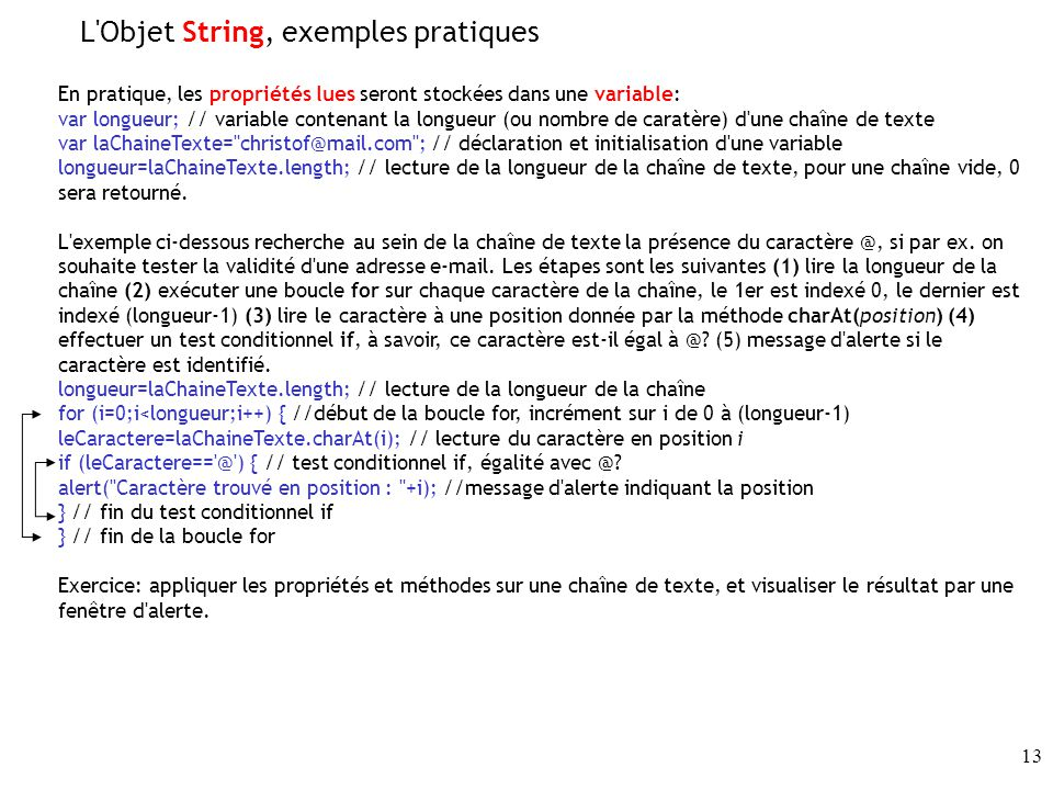 L Objet String, exemples pratiques