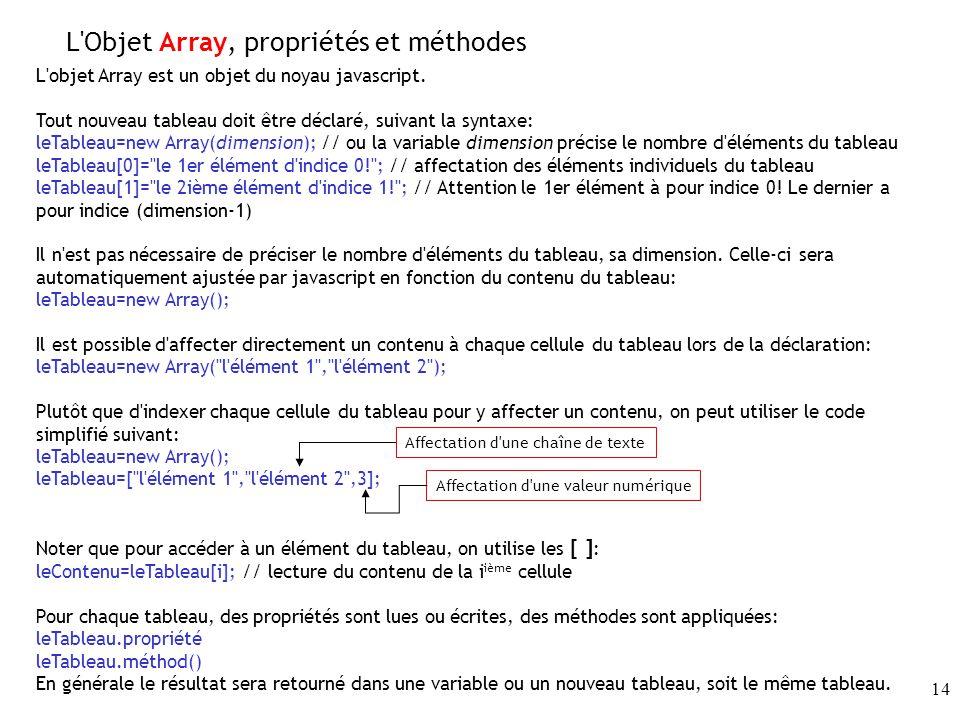 L Objet Array, propriétés et méthodes