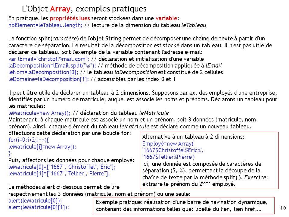 L Objet Array, exemples pratiques
