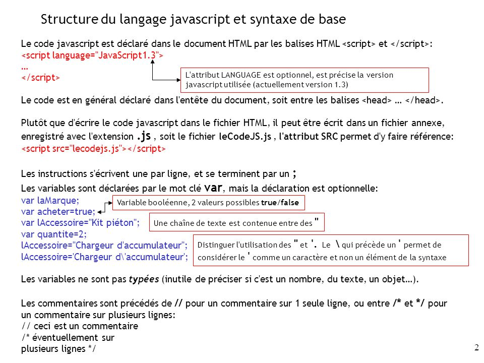 Structure du langage javascript et syntaxe de base